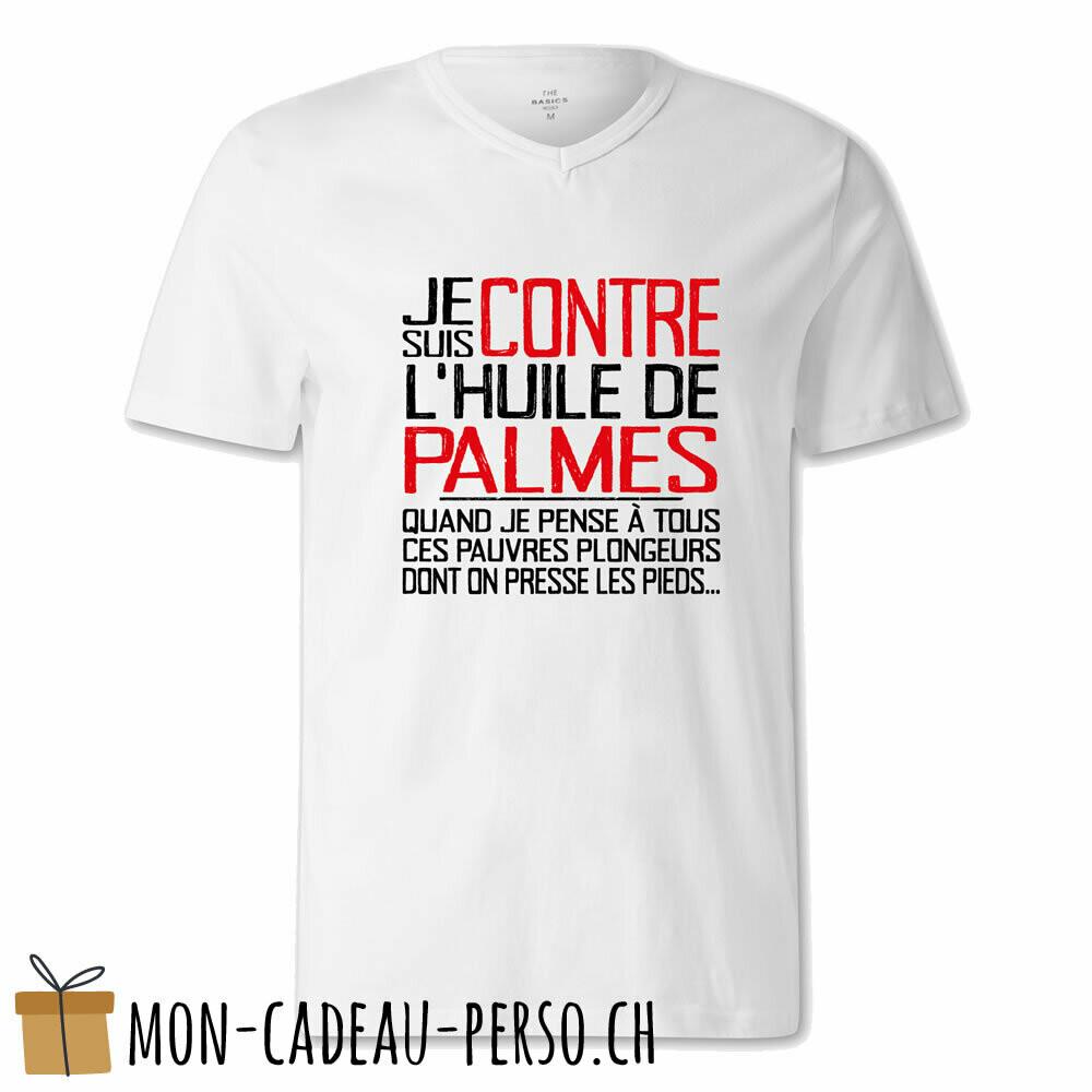 """T-shirt humoristique -  blanc - FEMME - """"je suis contre l'huile de palme…"""""""