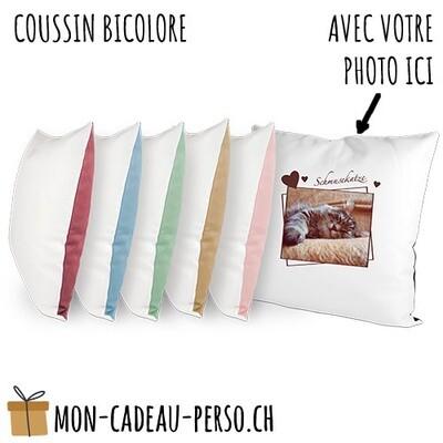 Coussin personnalisé - Carré 40x40 - Housse Bicolore Structurée