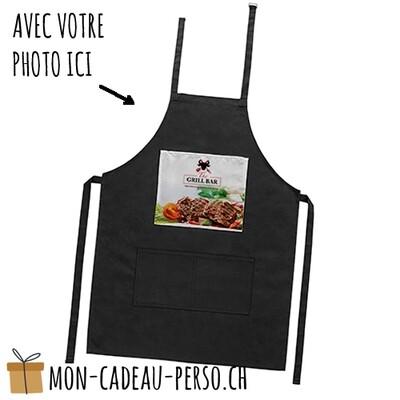 Tablier de cuisine personnalisé - Adulte - NOIR - Polyester - Zone imprimable 235x255mm