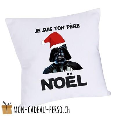 """Coussin humoristique - 40x40 - Housse couleur blanche - """"je suis ton père Noël"""""""