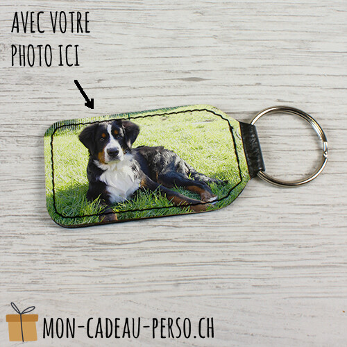 Porte-clé personnalisé - Similicuir - Sublimation - Forme de rectangle 40x70mm