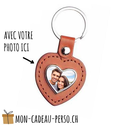 Porte-clé en alu / similicuir personnalisé - Sublimation - Coeur