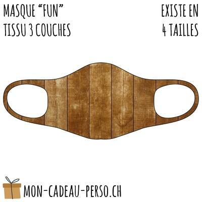 Masque de protection PRÉ-imprimé - Taille à choix - Motif Bois