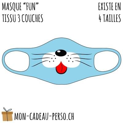 Masque de protection PRÉ-imprimé - Taille à choix - Motif Chat bleu