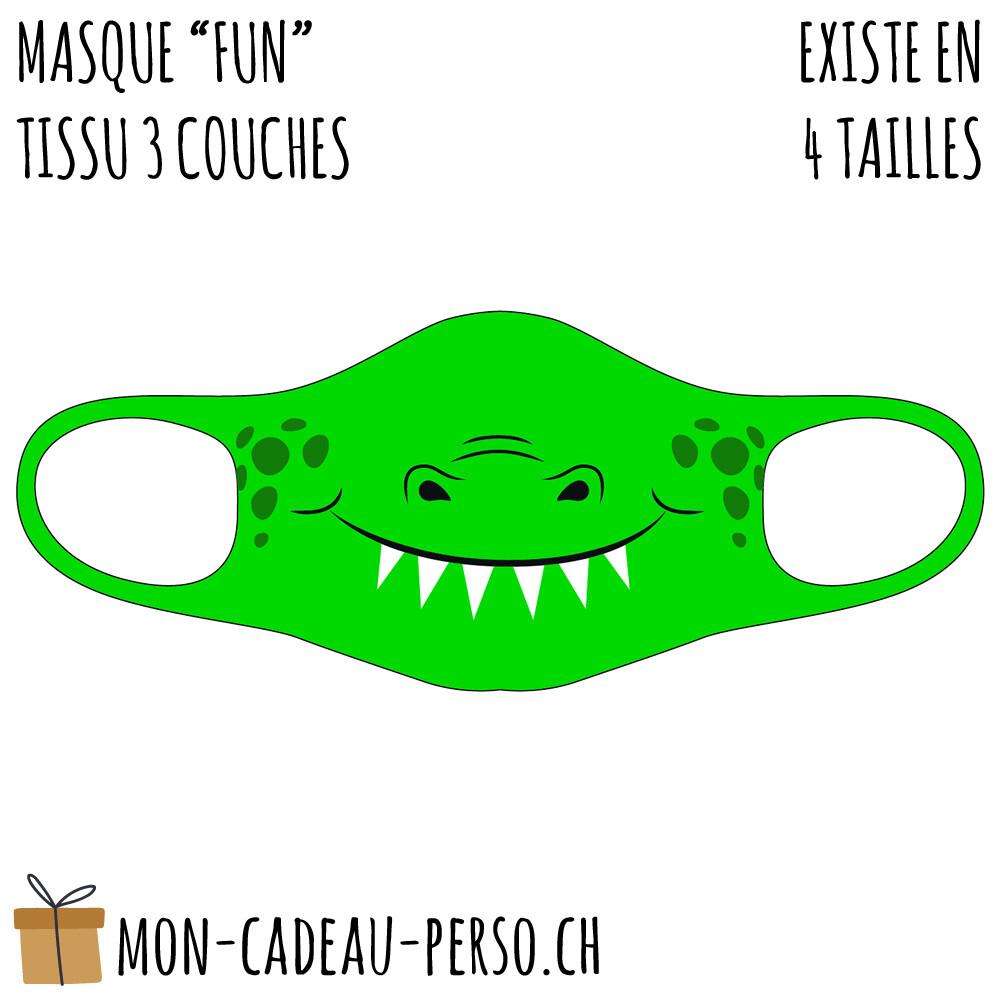 Masque de protection PRÉ-imprimé - Taille à choix - Motif Crocodile