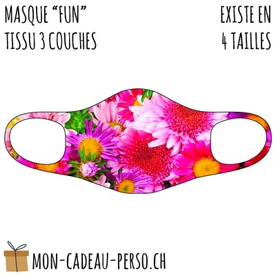 Masque de protection PRÉ-imprimé - Taille à choix - Motif Fleurs