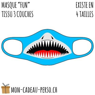 Masque de protection PRÉ-imprimé - Taille à choix - Motif Requin V2