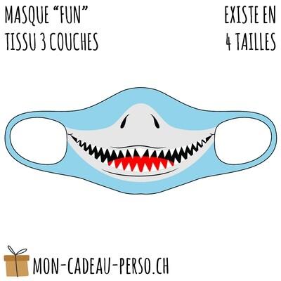 Masque de protection PRÉ-imprimé - Taille à choix - Motif Requin V1