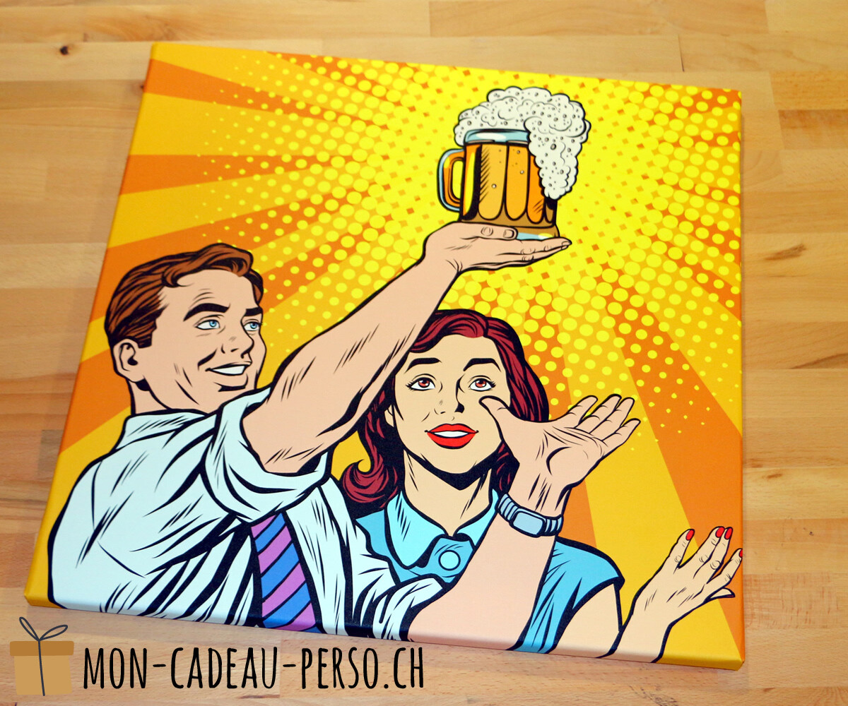 Toile Canvas sur châssis - 50x50cm - Motif Bière