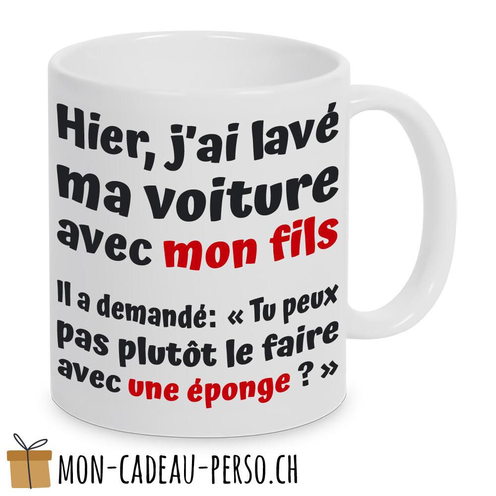 """MUG humoristique - Duraglas Blanc Brillant - """"hier, j'ai lavé ma voiture avec mon fils..."""""""