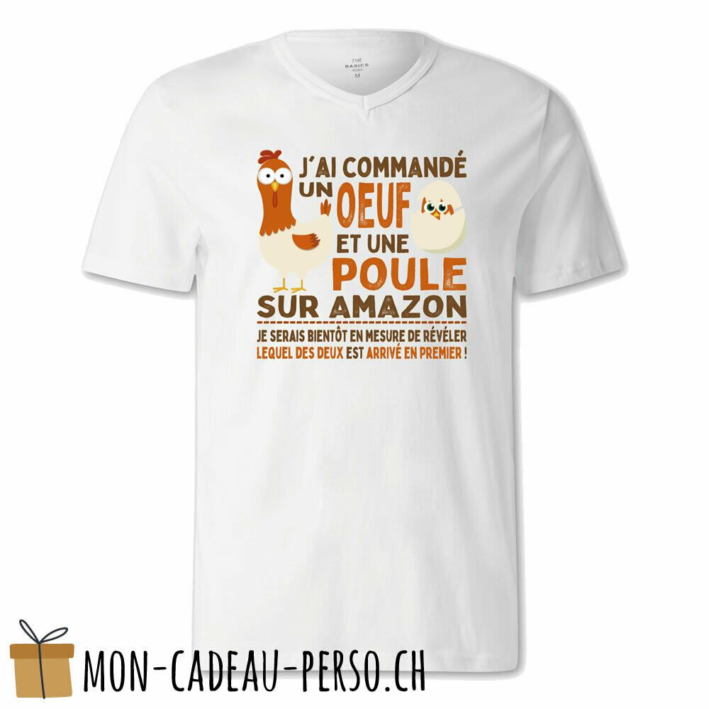 """T-shirt humoristique -  blanc - FEMME - """"j'ai commandé un œuf ou une poule..."""""""