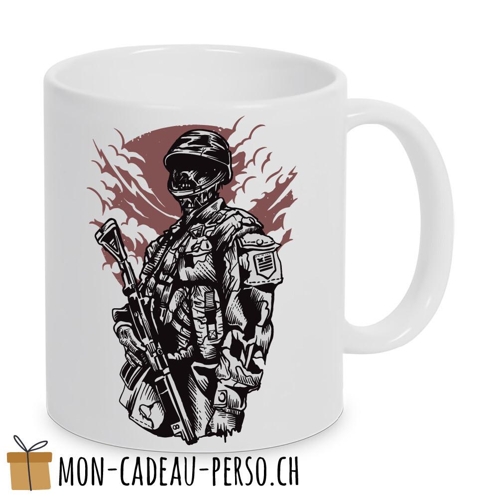 MUG pré-imprimé - Duraglas Blanc Brillant - Zombie Soldier