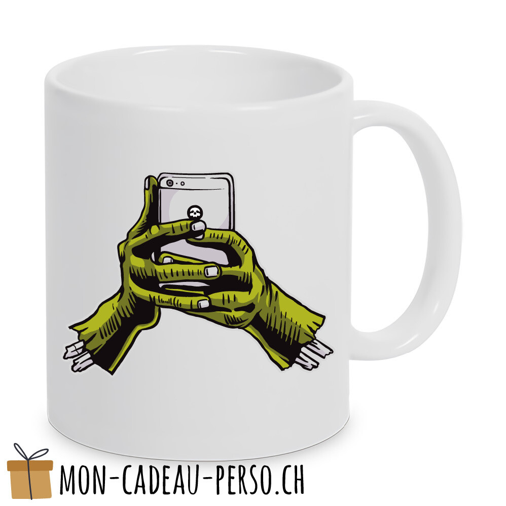 MUG pré-imprimé - Duraglas Blanc Brillant - Zombie Phone