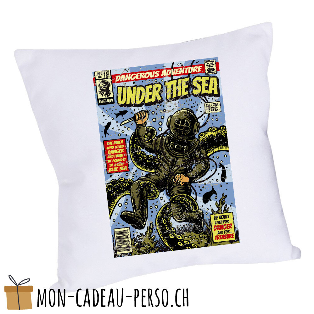 Coussin pré-imprimé - 40x40 - Housse couleur blanche - Under The Sea