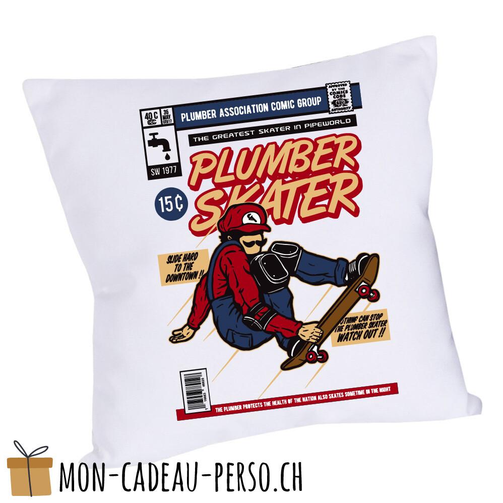 Coussin pré-imprimé - 40x40 - Housse couleur blanche - Plumber Skater