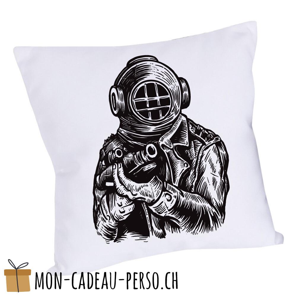 Coussin pré-imprimé - 40x40 - Housse couleur blanche - Diver Soldier