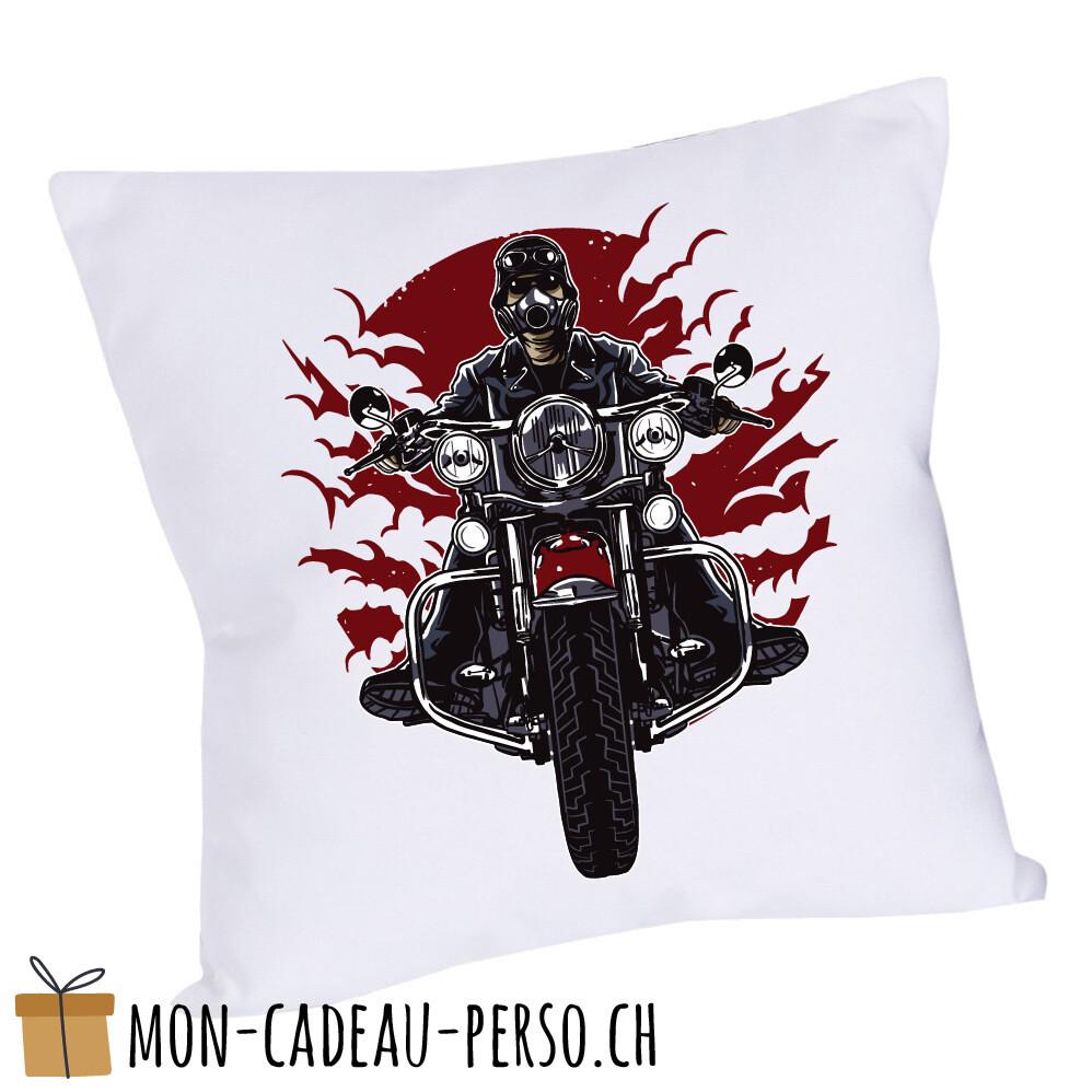 Coussin pré-imprimé - 40x40 - Housse couleur blanche - Wild Biker