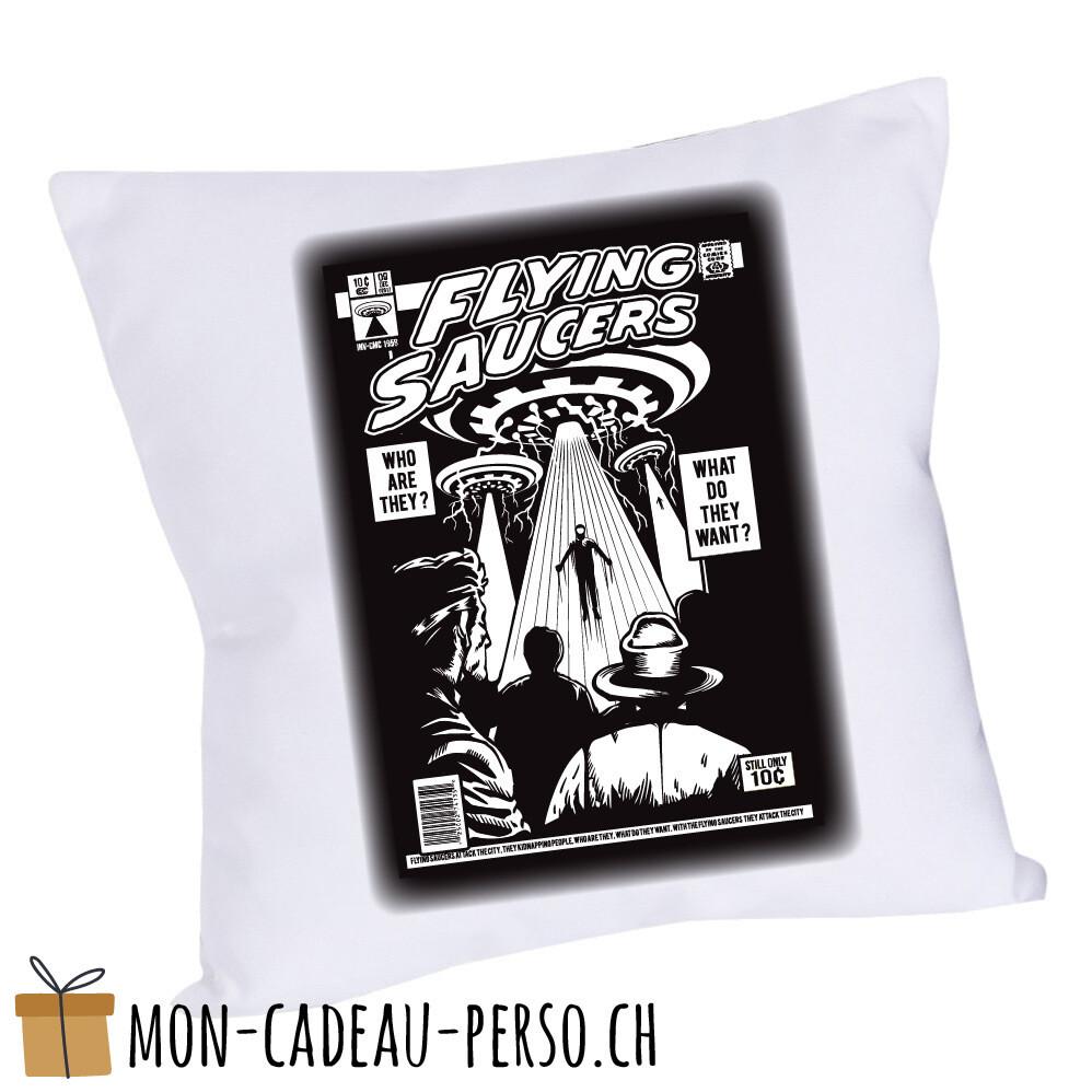 Coussin pré-imprimé - 40x40 - Housse couleur blanche - UFO