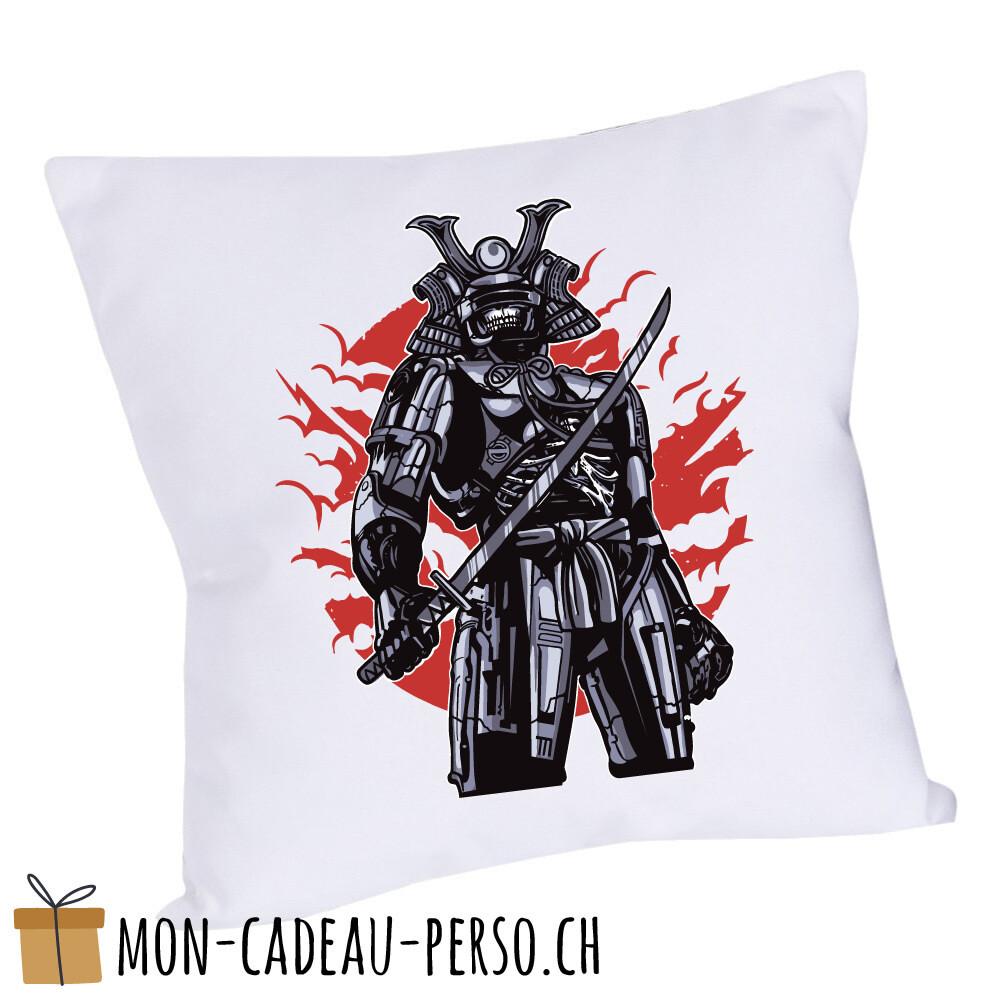 Coussin pré-imprimé - 40x40 - Housse couleur blanche - Samurai Robot Skull
