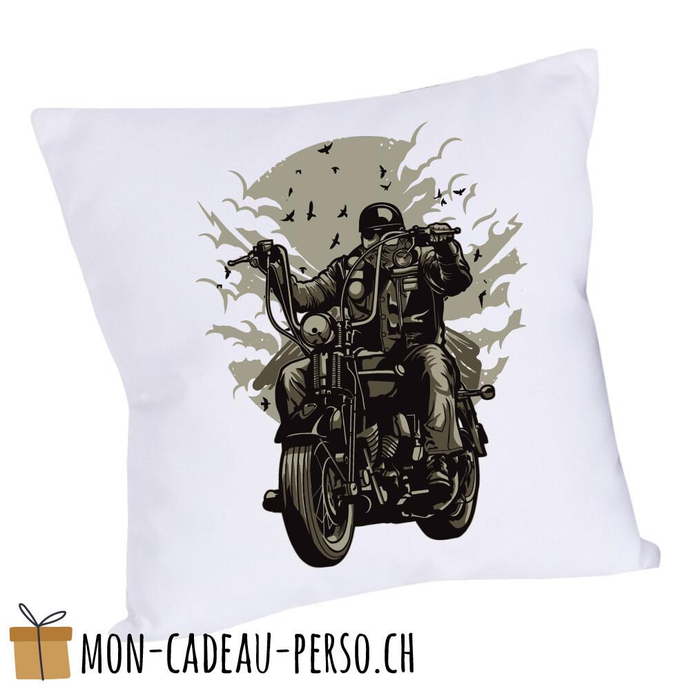 Coussin pré-imprimé - 40x40 - Housse couleur blanche - Live To Ride