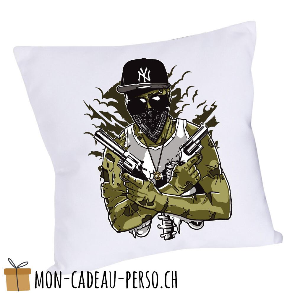 Coussin pré-imprimé - 40x40 - Housse couleur blanche - Gangsta Zombie