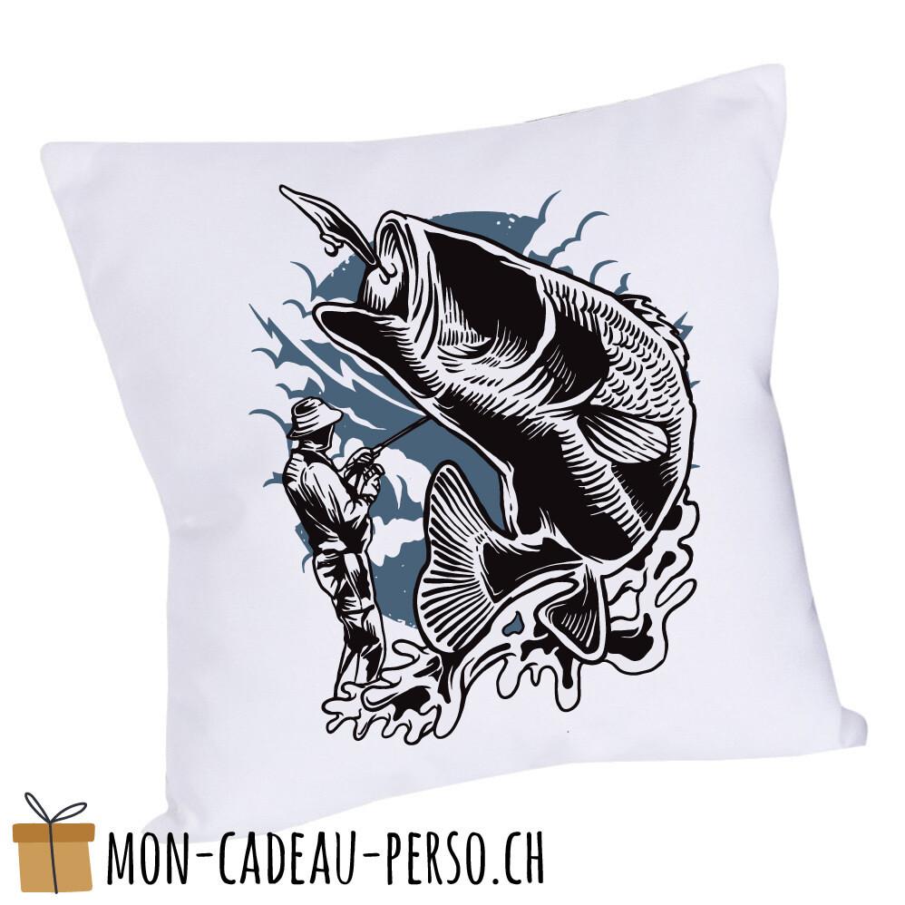 Coussin pré-imprimé - 40x40 - Housse couleur blanche - Fisherman
