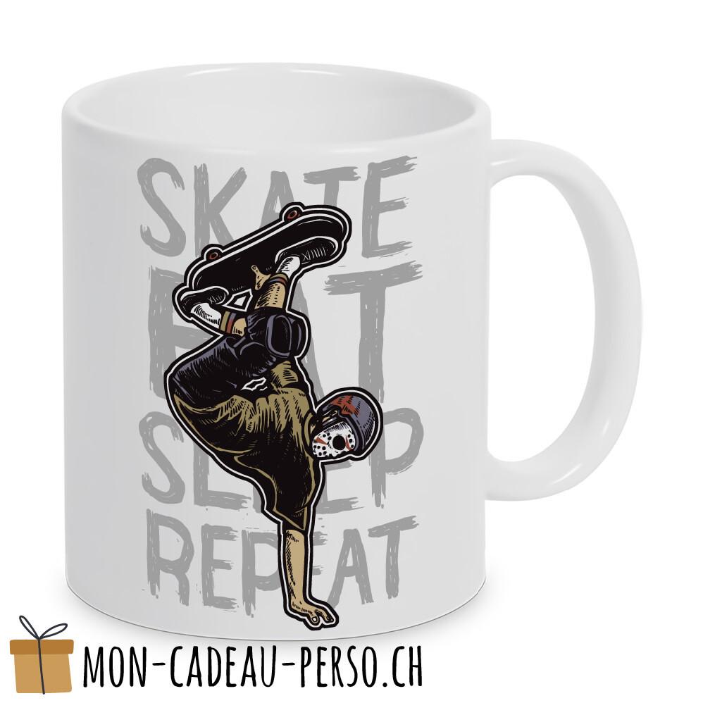 MUG pré-imprimé - Duraglas Blanc Brillant - Skate Eat Sleep Repeat
