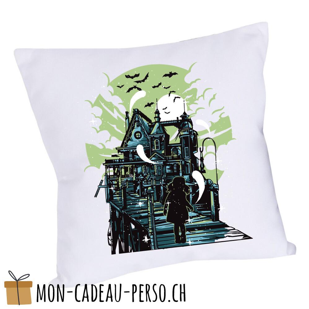 Coussin pré-imprimé - 40x40 - Housse couleur blanche - Haunted House
