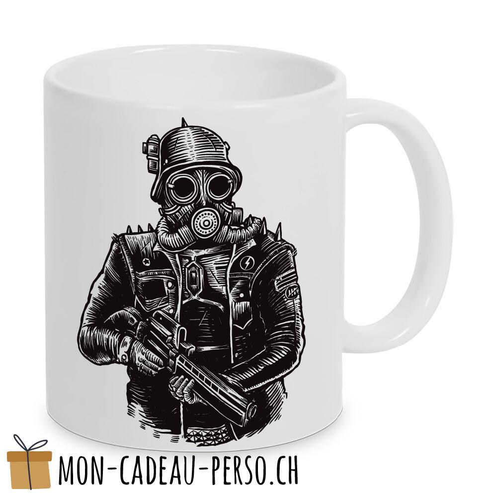 MUG pré-imprimé - Duraglas Blanc Brillant - Steampunk Soldier