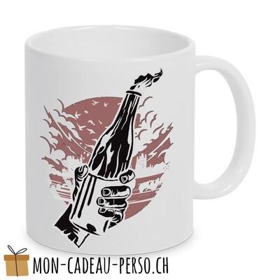 MUG pré-imprimé - Duraglas Blanc Brillant - Molotov Cocktail