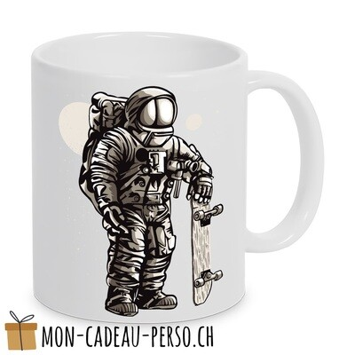 MUG pré-imprimé - Duraglas Blanc Brillant - Astronaut Skater