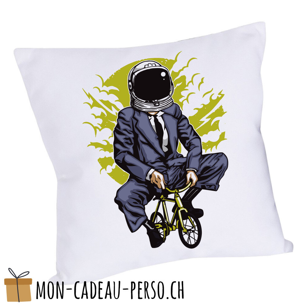 Coussin pré-imprimé - 40x40 - Housse couleur blanche - Bike to the Moon
