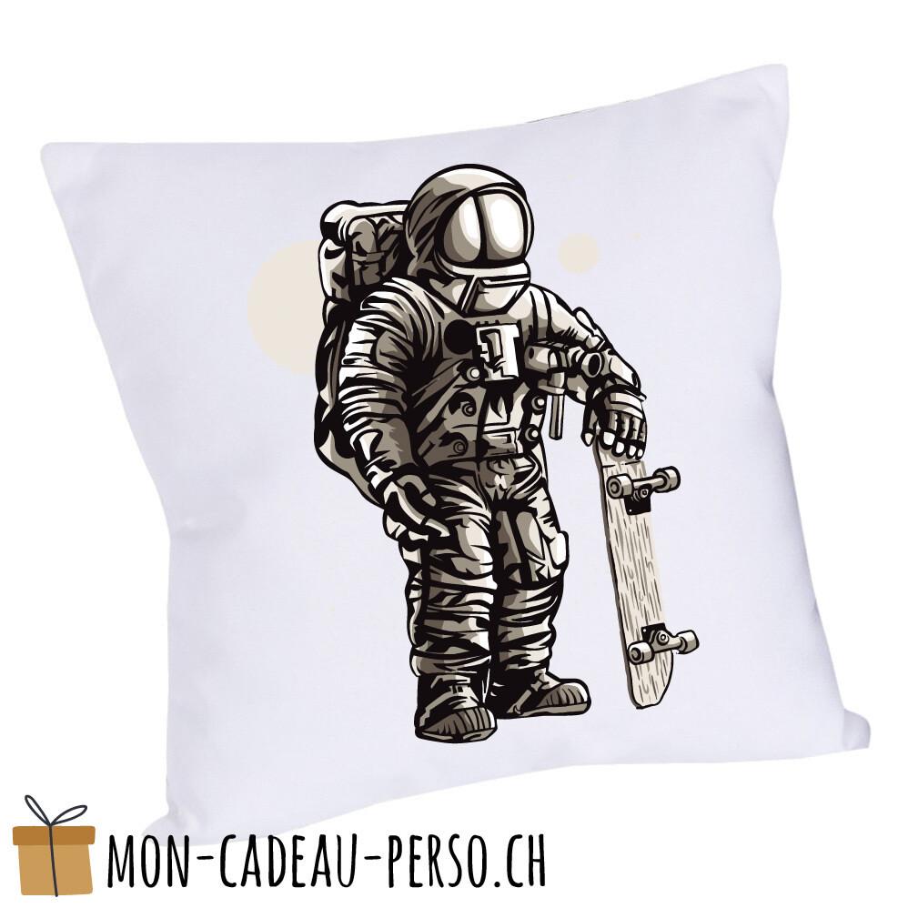 Coussin pré-imprimé - 40x40 - Housse couleur blanche - Astronaut Skater