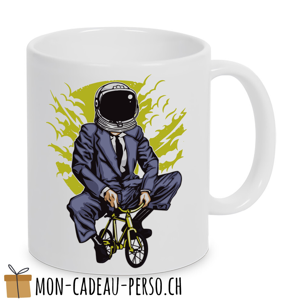 MUG pré-imprimé - Duraglas Blanc Brillant - Bike to the Moon