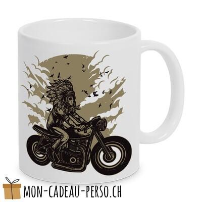 MUG pré-imprimé - Duraglas Blanc Brillant - Indian Chief Rider