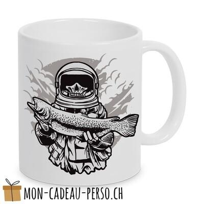 MUG pré-imprimé - Duraglas Blanc Brillant - Astronaut Fishing