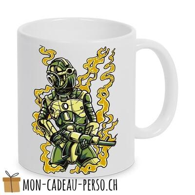 MUG pré-imprimé - Duraglas Blanc Brillant - Robot Soldier