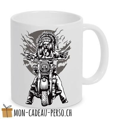MUG pré-imprimé - Duraglas Blanc Brillant - Indian Chief Motorcycle