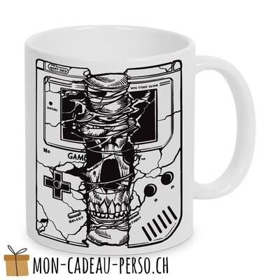 MUG pré-imprimé - Duraglas Blanc Brillant - Gameboy Skull