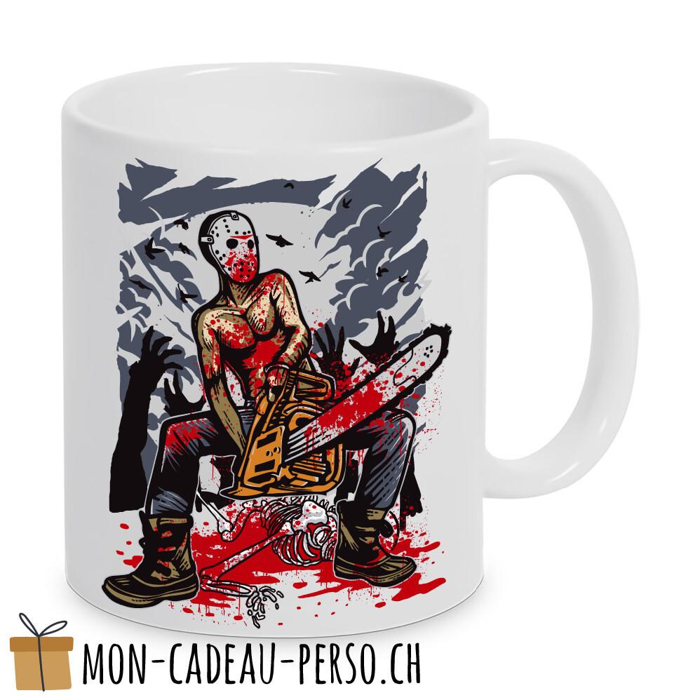 MUG pré-imprimé - Duraglas Blanc Brillant - Chainsaw Killer