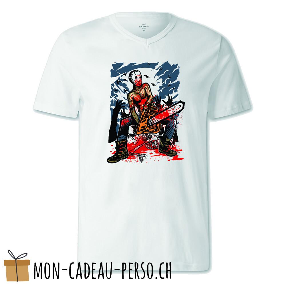 T-shirt pré-imprimé -  blanc - FEMME - Chainsaw Killer