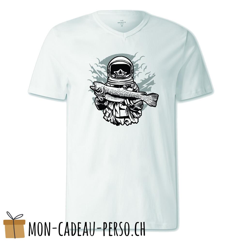 T-shirt pré-imprimé -  blanc - FEMME - Astronaut Fishing