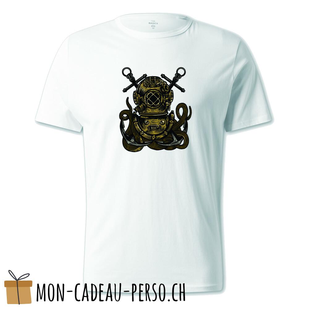 T-shirt pré-imprimé -  blanc - UNISEXE - Diver Octopus
