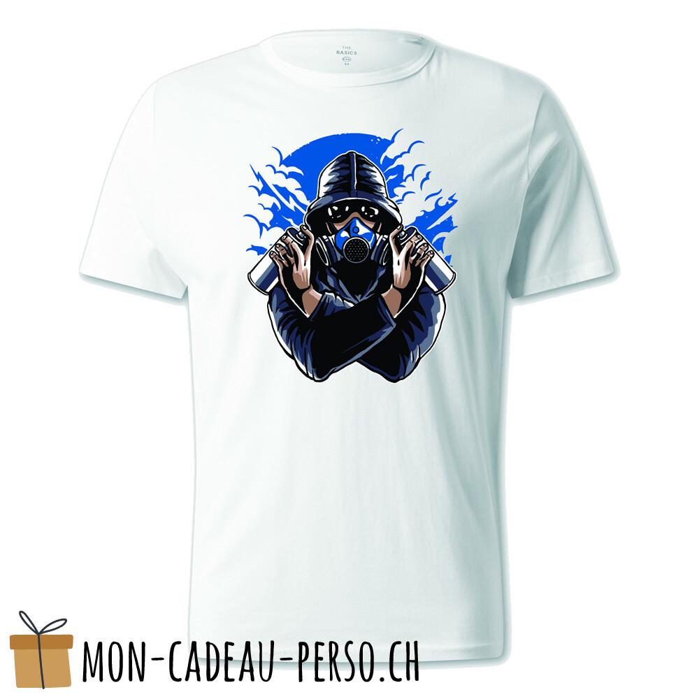 T-shirt pré-imprimé -  blanc - UNISEXE - Graffiti Gasmask
