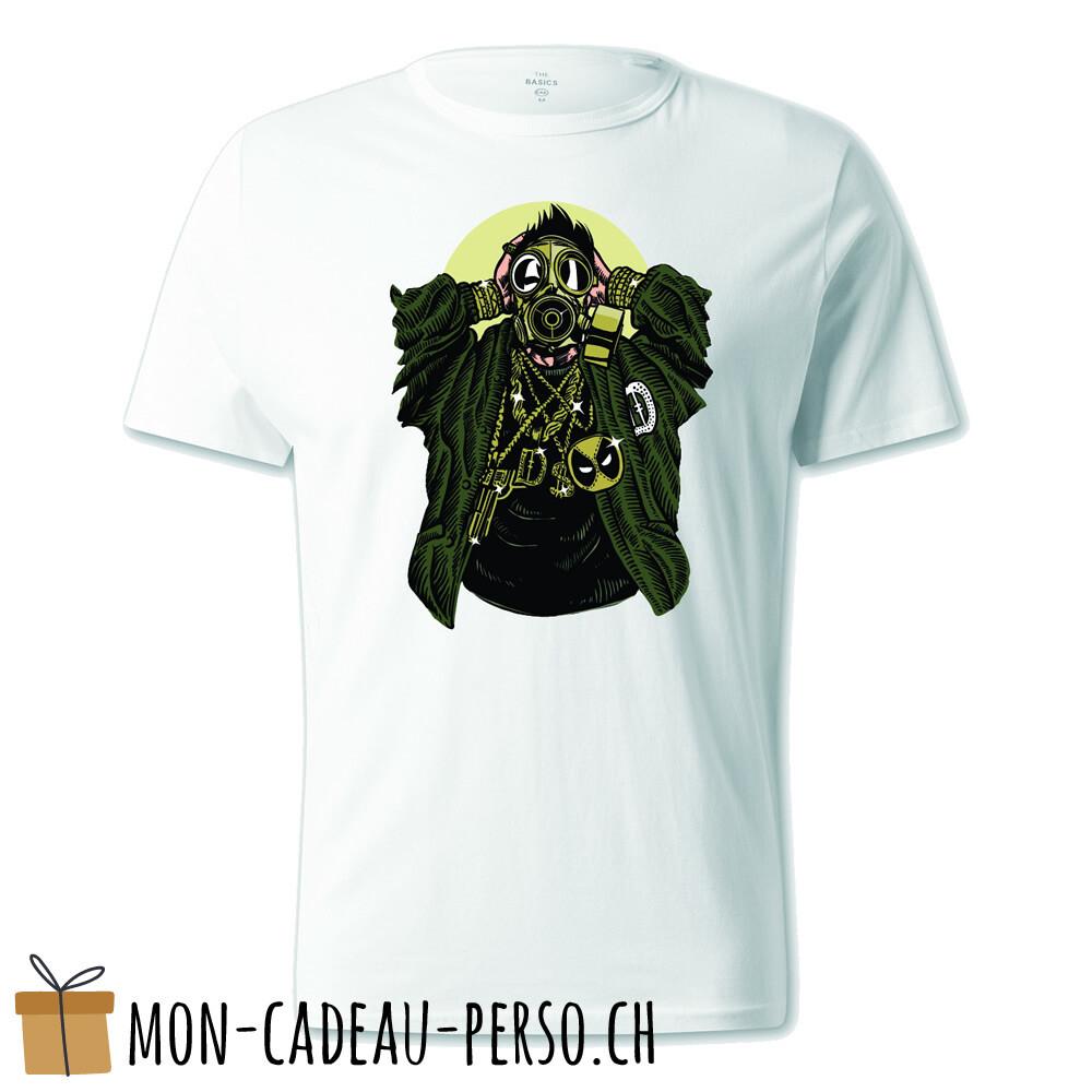 T-shirt pré-imprimé -  blanc - UNISEXE - Gasmask Gangsta