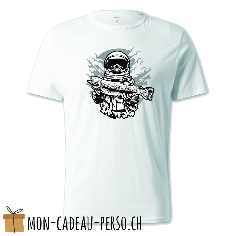 T-shirt pré-imprimé -  blanc - UNISEXE - Astronaut Fishing