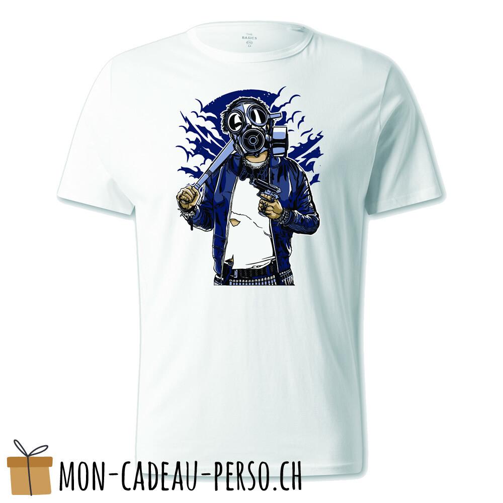 T-shirt pré-imprimé -  blanc - UNISEXE - Gasmask Bastard