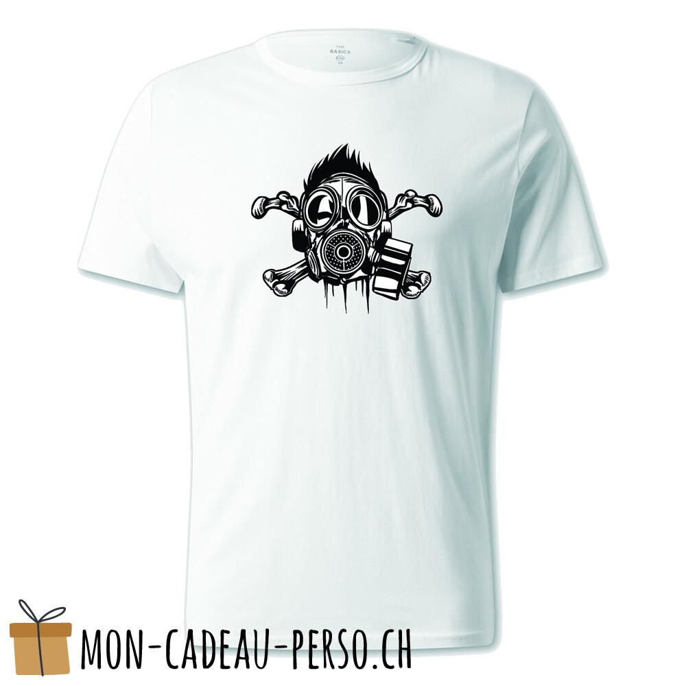 T-shirt pré-imprimé -  blanc - UNISEXE - Cross Bones Gasmask