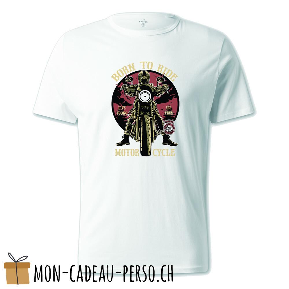 T-shirt pré-imprimé -  blanc - UNISEXE - Born to Ride