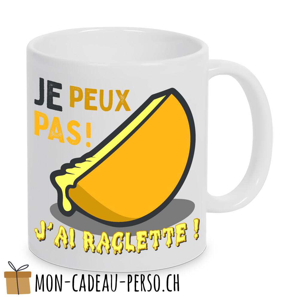 """MUG humoristique - Duraglas Blanc Brillant - """" je peux pas, j'ai raclette"""""""